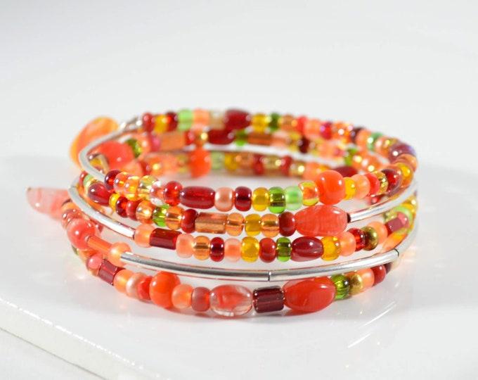 Orange Memory Wire Bracelet - Lepa Jewelry (K765)