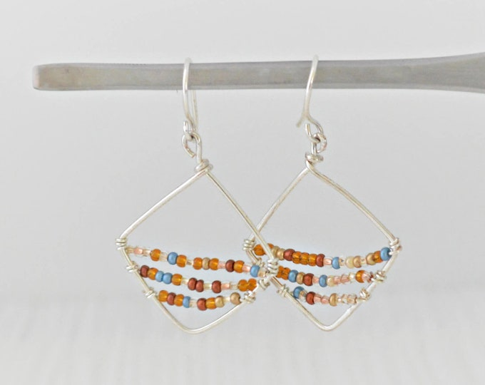 Unique Colorful Wire Earrings, Seed Bead Earrings