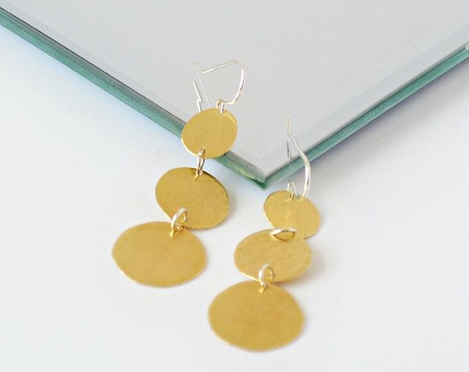 Brass Long Disc Dangle Earrings, Gold Textured Circle Earrings, Gift for Her