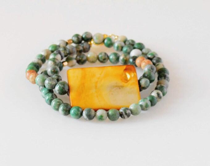 Boho Gemstone Wrap Bracelet, Dual Purpose Bracelet Necklace
