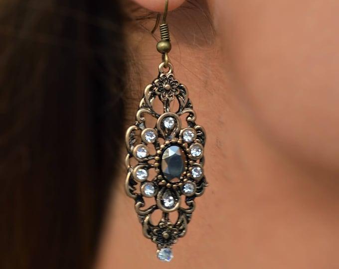 Antique Brass Filigree Earrings By Lepa Jewelry (K514)