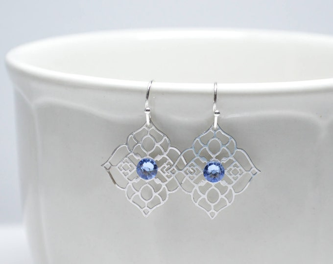 Delicate Ornate Silver Drop Earrings with Blue Crystals by Lepa Jewelry (K561)
