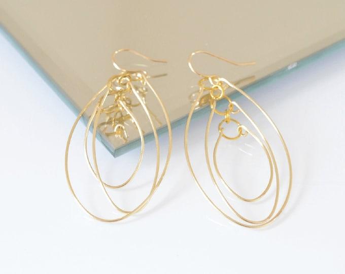 Long Open Oval Hoop Earrings