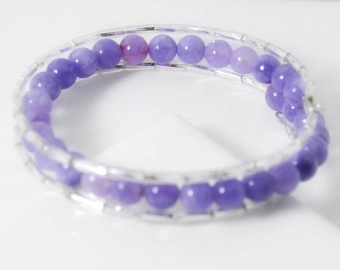 Purple Jade Adjustable 3 Wrap Bracelet With Twisted Glass Tubes - Lepa Jewelry (K767)