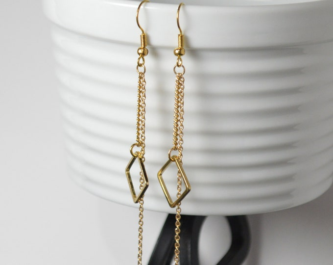 Gold Geometric Drop Earrrings by Lepa Jewelry (K457)