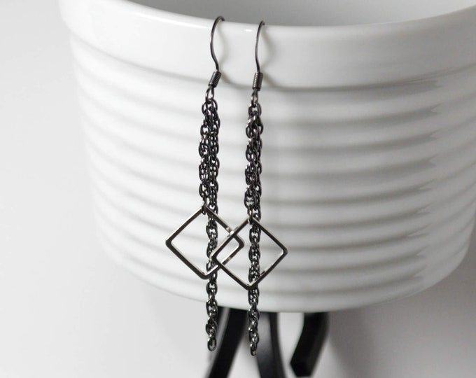 Black & Silver Long Drop Earrrings by Lepa Jewelry (K459)