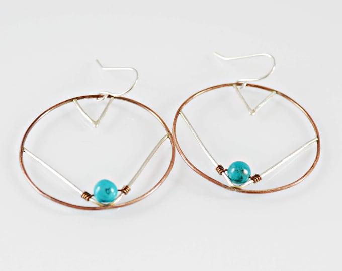 Turquoise Wire  Hoop Earrings, Aztec Pattern Earrings