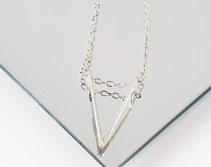 V Shape Pendant Necklace, Chevron Layering Necklace, Simple Silver Necklace
