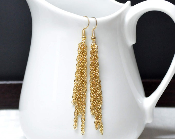 Long Gold Tassel Earrings by Lepa Jewelry (K530)