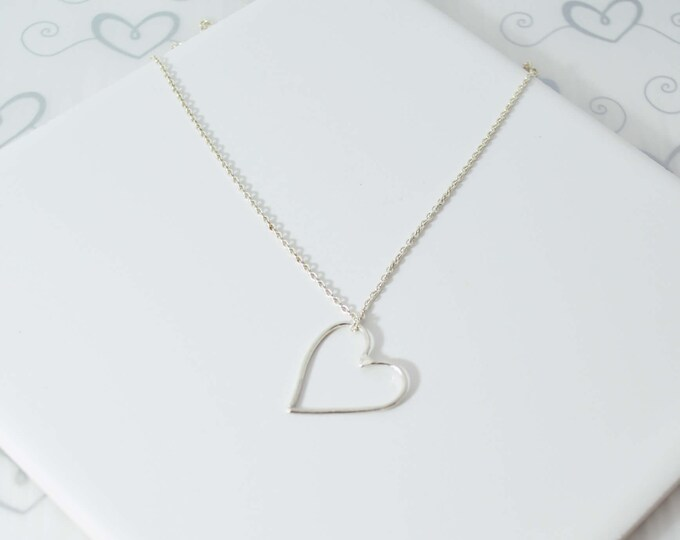 Sterling Silver Open Heart Necklace for Valentines Day by Lepa Jewelry