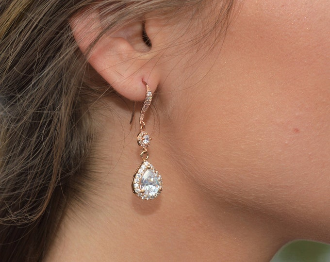 2 Tier Rose Gold Tear Drop Bridal Earrings by Lepa Jewelry (K412)