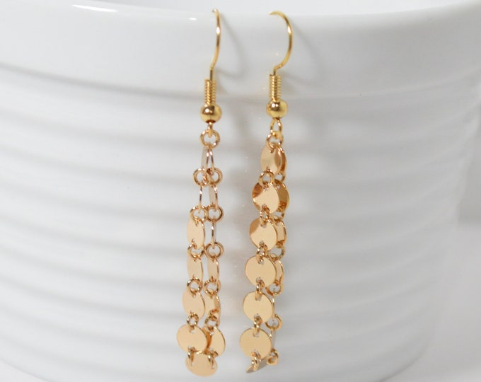 Gold Coin Drop Earrings by Lepa Jewelry (K547)