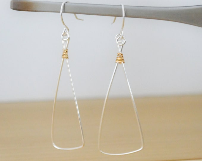 Simple Silver Triangle Earrings with Gold Accents, Gift for Her
