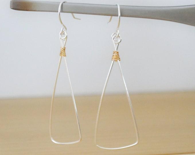 Minialist Artisan Geometric Earrings in Silver and Gold - Lepa Jewelry (K760)