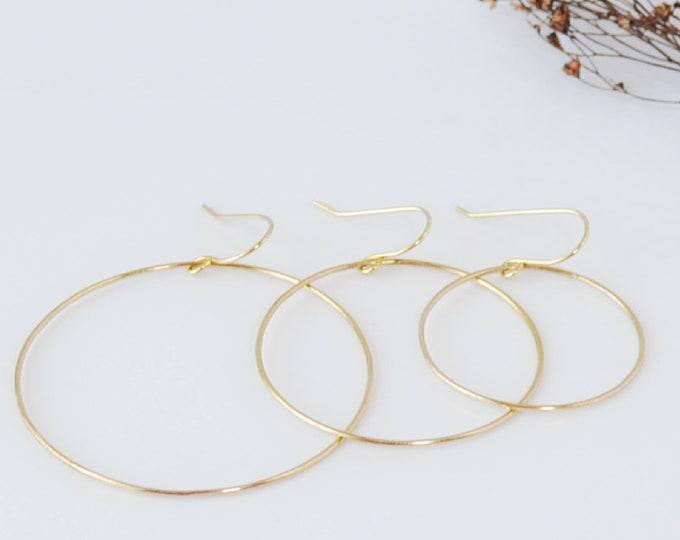 Gold Hoop Dangle Earrings, Simple Gold Hoop Earrings, Gift for Her