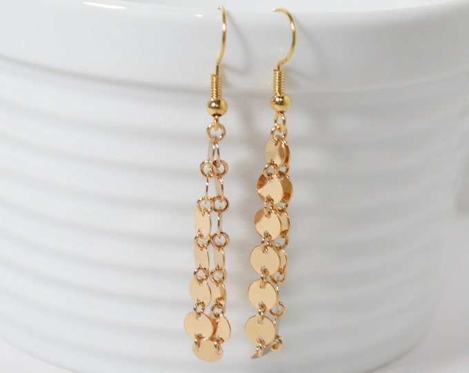 Shiny Gold Dangle Earrings by Lepa Jewelry (K547)
