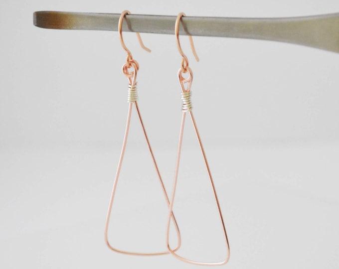 Rose Gold Triangle Dangle Earrings - Lepa Jewelry (K758)