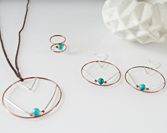 Copper and Turquoise Jewelry Set, Gift for Her
