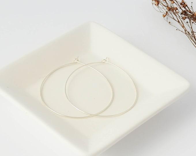 Thin and Delicate Silver Hoop Earrings, Chic Summer Threader Hoops, Wire Hoop Earrings