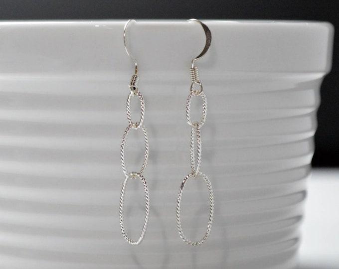 Delicate Twisted Silver Drop Earrings By Lepa Jewelry (K462)