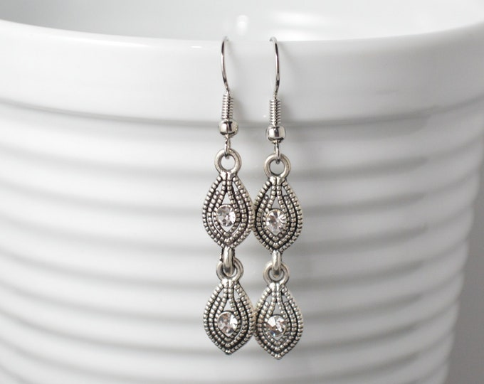 Silver 2 Tier Marquise Drop Earrings by Lepa Jewelry (K534)