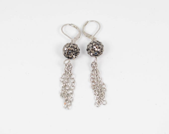 Black Rhinestone & Chain Tassel Earrings by Lepa Jewelry (K211)