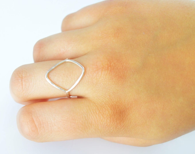 Diamond Geometric Ring, Middle Finger Ring, Pointer Finger Ring, Gift for Her