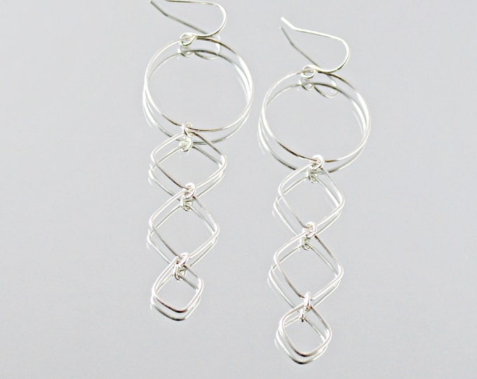 Silver Linear Dangles with Hoop Earrings, Long Fashion Earrings