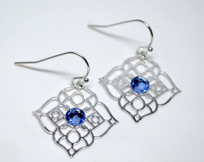 Silver and Blue Drop Earrings by Lepa Jewelry (K561)