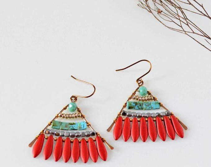 Red Fan Shape Earrings, Boho Triangle Dangle Earrings