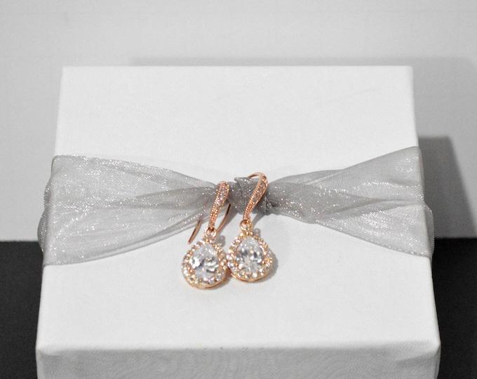 Rose Gold Tear Drop Bridal Earrings (1 Drop) by Lepa Jewelry (K412)