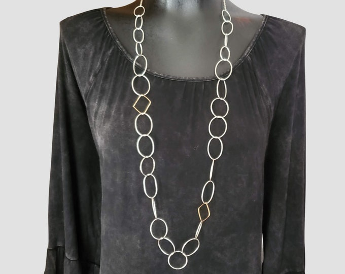 Long Geometric Link Necklace, Long Statement Necklace