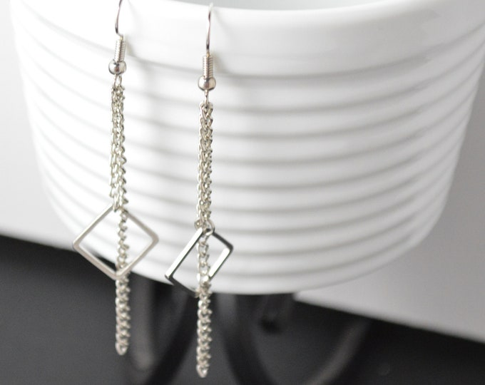 Silver Geometric Dangle Earrrings by Lepa Jewelry (K541)