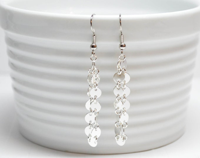 Shiny Silver Dangle Earrings by Lepa Jewelry (K556)