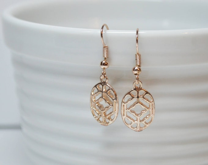 Dainty Rose Gold Filigree Drop Earrings by Lepa Jewelry (K579)