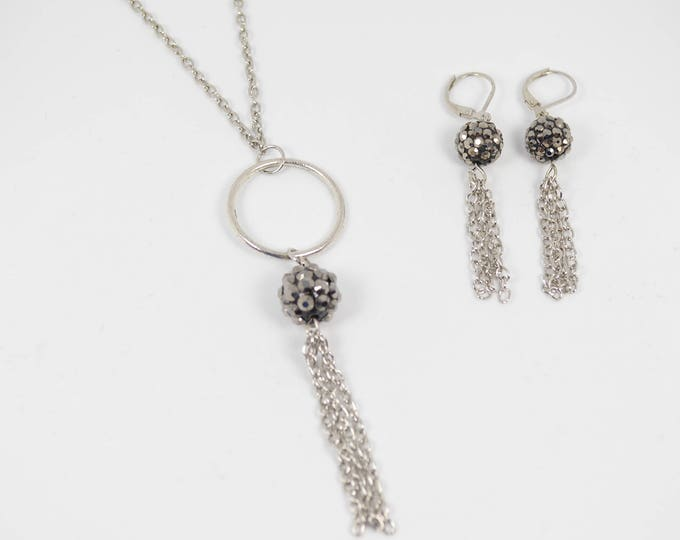 Black Bead with Silver Chain Tassel Necklace and Drop Earring Set by Lepa Jewelry (K212)