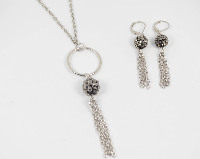Black Rhinestone & Silver Chain Tassel Necklace and Earring Set by Lepa Jewelry (K212)