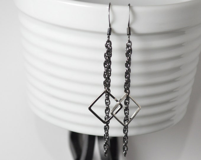 Black & Silver Drop Earrrings by Lepa Jewelry (K459)