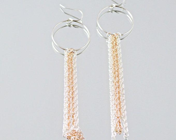 Long Chain Fringe Earrings, Glam Fashion Statement Earrings