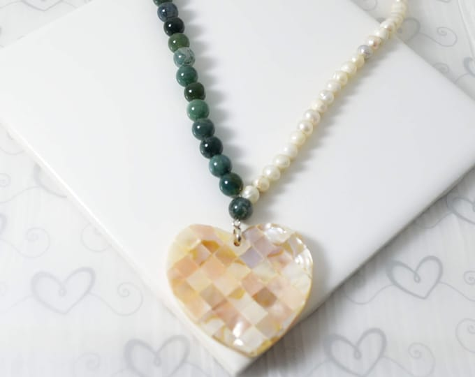 Shell Heart Necklace - A Unique Valentines Day Gift for Her- Lepa Jewelry (K697)