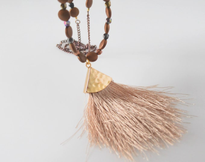 Earthy Tassel Necklace with Brown Hematite Beads, Gift for Her
