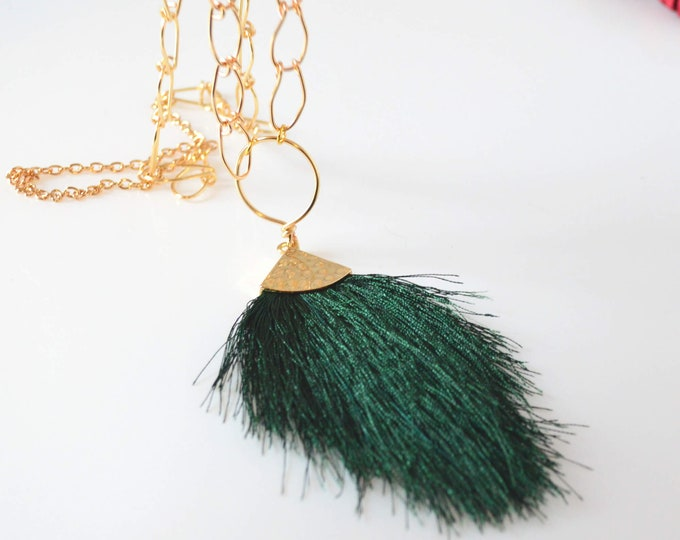 Gold Long Necklace With Large Emerald Green Fringe Pendant