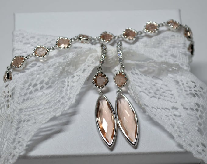 Peach Marquise Drop Bridal Earring & Bracelet Set by Lepa Jewelry (K411)