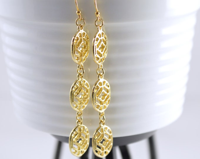Long Gold Filigree Earrings by Lepa Jewelry (K516)