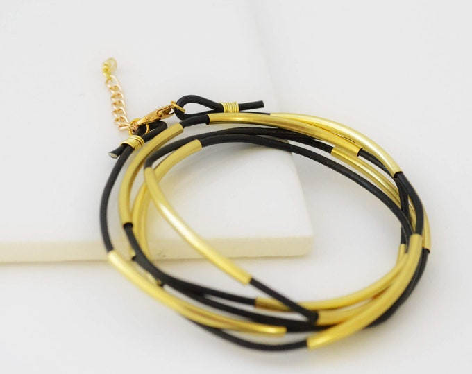 Leather Tube Wrap Bracelet, Black and Gold Multi Strands