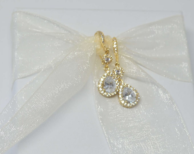 Sparkling Gold Drop Earrrings for Brides by Lepa Jewelry (K214)