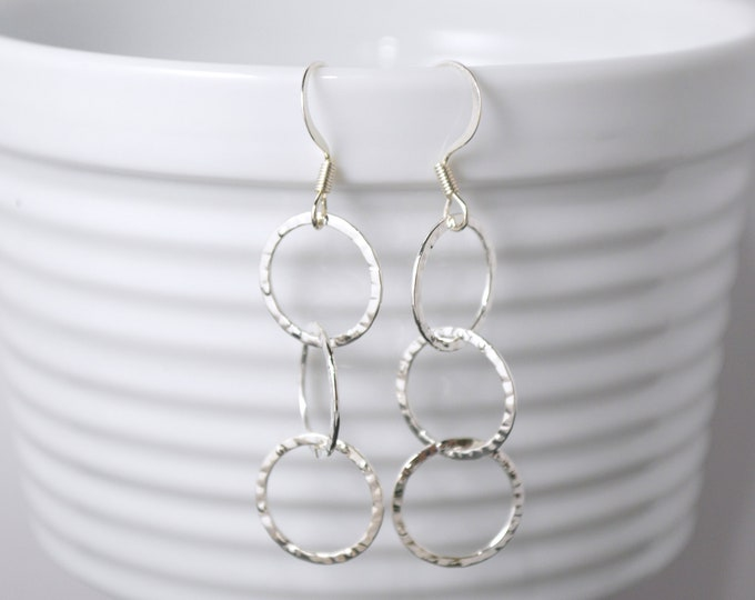 3 Tier Hammered Silver Hoop Earrings by Lepa Jewelry (K539)