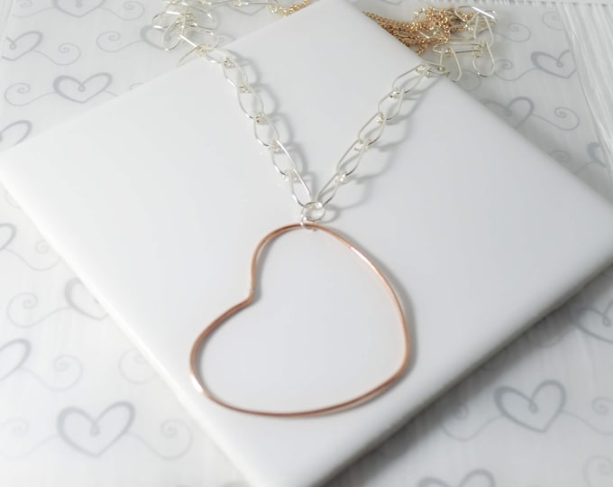 Long Artisan Open Heart Necklace - Lepa Jewelry (K777)