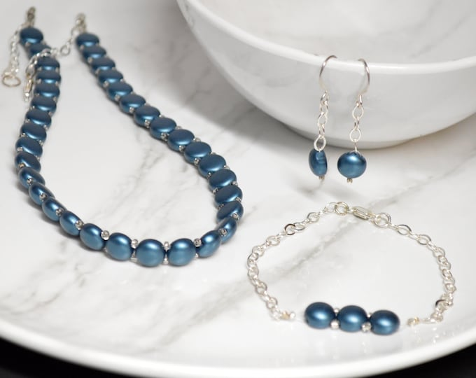 Modern Blue Green Choker Jewelry Set by Lepa Jewelry (K418)