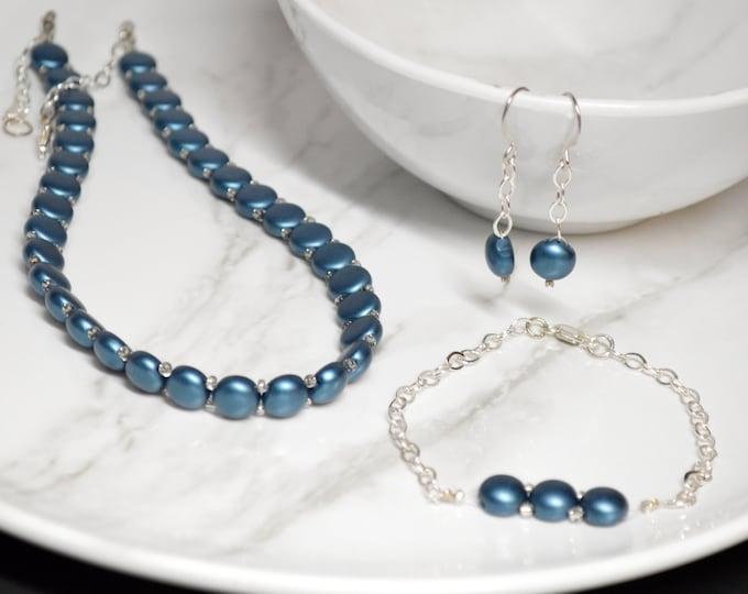 Modern Blue Green Choker Jewelry Set by Lepa Jewelry (K418)